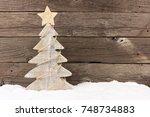 shabby chic wooden christmas... | Shutterstock . vector #748734883
