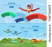 skydiver jumps from an airplane ... | Shutterstock .eps vector #748736809