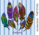 embroidery beautiful feathers... | Shutterstock .eps vector #748737436