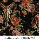embroidery bull skull and roses ... | Shutterstock .eps vector #748737730