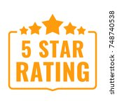 5 star rating. badge with icons....   Shutterstock .eps vector #748740538