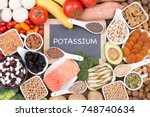 food rich in potassium  top... | Shutterstock . vector #748740634