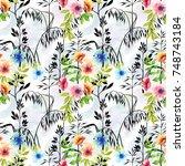 spring floral seamless pattern... | Shutterstock . vector #748743184