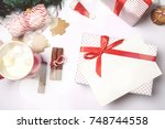 write wishing on the greeting... | Shutterstock . vector #748744558
