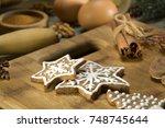 christmas cookies. christmas... | Shutterstock . vector #748745644