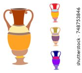 vector image of vintage amphorae | Shutterstock .eps vector #748753846