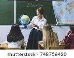 teacher woman happy young... | Shutterstock . vector #748756420