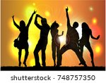 dancing people silhouettes.... | Shutterstock .eps vector #748757350
