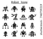 robot icon set  | Shutterstock .eps vector #748759219
