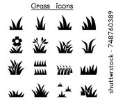 grass icon set illustration... | Shutterstock .eps vector #748760389