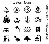 water icon set vector... | Shutterstock .eps vector #748760806