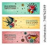 old school tattoo banners set | Shutterstock .eps vector #748762549