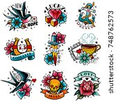 old school tattoo emblems set | Shutterstock .eps vector #748762573