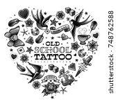 old school tattoo set | Shutterstock .eps vector #748762588