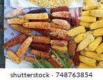 dried ears of corn and... | Shutterstock . vector #748763854