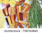 dried ears of corn and... | Shutterstock . vector #748763860
