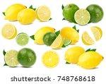 set fresh lemon with lime... | Shutterstock . vector #748768618