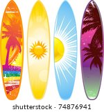 surfboard set with tropical... | Shutterstock .eps vector #74876941