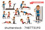 trainer personal  helping woman ... | Shutterstock .eps vector #748773193