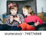 little girls children kids... | Shutterstock . vector #748776868