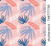 seamless tropical pattern with... | Shutterstock .eps vector #748777750