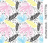seamless tropical pattern with... | Shutterstock .eps vector #748777756