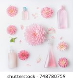pastel pink natural cosmetic... | Shutterstock . vector #748780759
