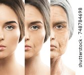 aging concept. comparison of... | Shutterstock . vector #748784698