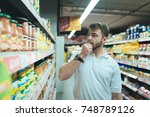 a man thinks what kind of... | Shutterstock . vector #748789126
