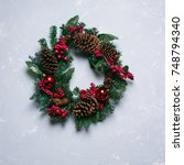 Winter And Christmas Wreath...