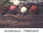 christmas decorative elements... | Shutterstock . vector #748801843