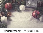 christmas decorative elements... | Shutterstock . vector #748801846