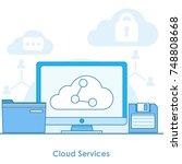 cloud services banner. computer ... | Shutterstock .eps vector #748808668