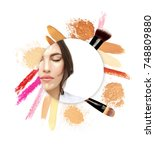 contouring.make up woman face....   Shutterstock . vector #748809880