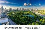 sunset scence of modern office... | Shutterstock . vector #748811014