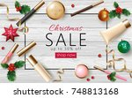 christmas cosmetic sale 3d... | Shutterstock .eps vector #748813168