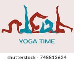 icons of yoga girls mixed... | Shutterstock .eps vector #748813624