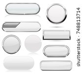 white buttons with metal frame. ... | Shutterstock .eps vector #748813714