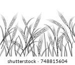 wheat field background. black... | Shutterstock .eps vector #748815604