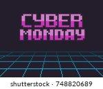 pixel art retro background with ... | Shutterstock .eps vector #748820689