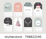 christmas gift tag set in retro ... | Shutterstock .eps vector #748822240