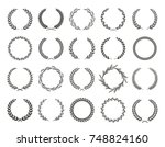 set of black and white... | Shutterstock .eps vector #748824160