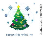 christmas tree. cartoon clip... | Shutterstock .eps vector #748824376