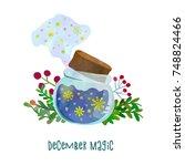 december magic. magical jar... | Shutterstock .eps vector #748824466