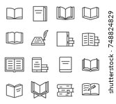Stock vector books icon set printed publications literature linear design line with editable stroke 748824829