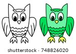 Funny Owl Colored Vector...