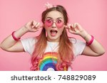 female chick with pink hair... | Shutterstock . vector #748829089