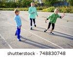 kids on a stadium | Shutterstock . vector #748830748