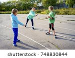 kids on a stadium | Shutterstock . vector #748830844