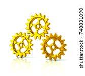 3d illustration of three golden ... | Shutterstock . vector #748831090